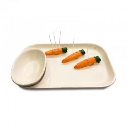 Plato de cocktail pequeño diseño zanahorias