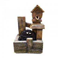 Fuente molino de madera rústico