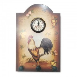 Cuadro gallo de campo con reloj
