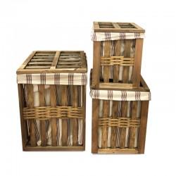 Set de 3 canastos Laundry de madera con tapa