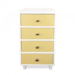 Cabinet cajonera blanco con amarillo pastel