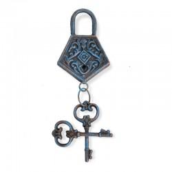 Candado con llave azul óxido