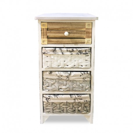Cabinet blanco patinado con mix de 4 cajones distintos