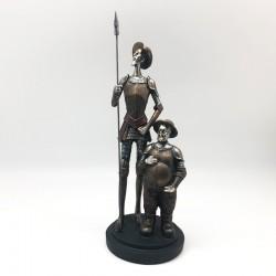 Quijote y Sancho en tonos metálicos opacos