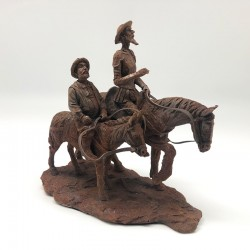 Quijote y Sancho cabalgando con terminación tipo óxido