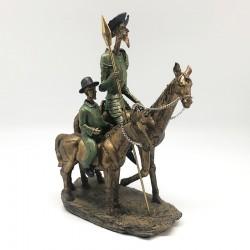 Quijote y Sancho cabalgando en tonos verde y gold
