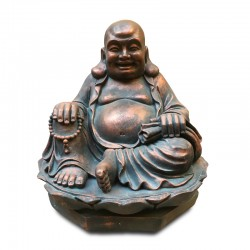 Buda de la fortuna en tono rojizo opaco