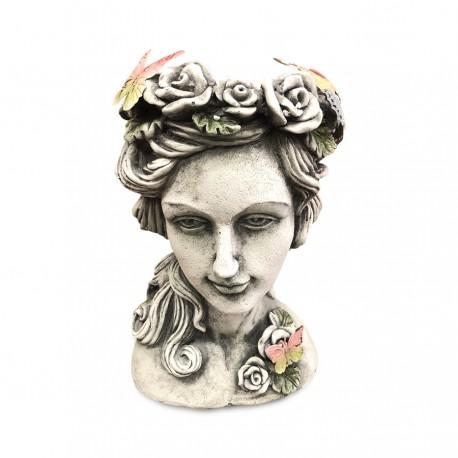 Maceta de cabeza de mujer con flores y mariposas