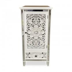 Mueble alto espejado blanco con detalles tallados