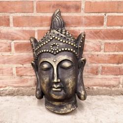 Cabeza de Buda Thai oscura con detalles gold