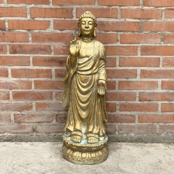Buda meditando de pie en tono gold envejecido