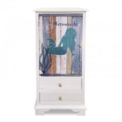 Mueble lateral blanco con diseño marino