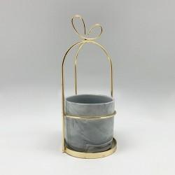 Candelabro marmolado con cinta gold