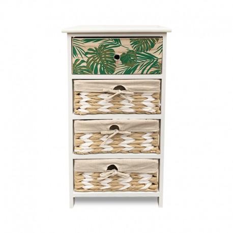 Mueble blanco de 4 cajones con diseño tropical