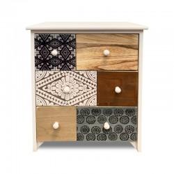 Mueble de 6 cajones con diseños estampados