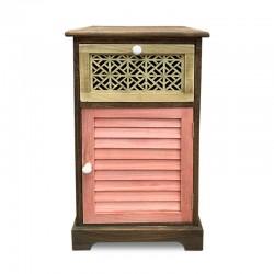 Cabinet café con cajón tallado y puerta rosa