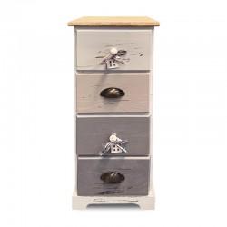 Cabinet de 4 cajones en tonos verdes pasteles