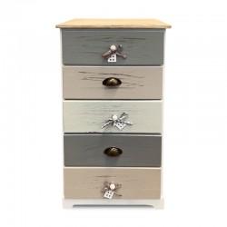 Cabinet ancho en tonos pasteles de 5 cajones