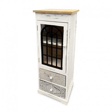 Cabinet de 2 cajones con puerta calada