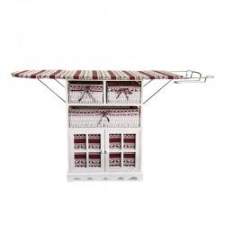 Mueble con tabla de plancha con diseño tela tonos rojos
