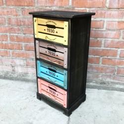 Cabinet café oscuro de 4 cajones de colores