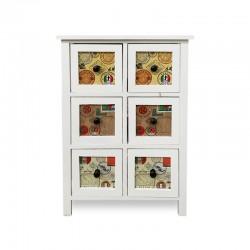 Cabinet blanco lacado con diseños del mundo
