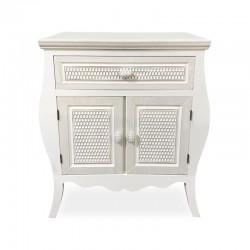 Mueble curvo con diseño de escamas tallado