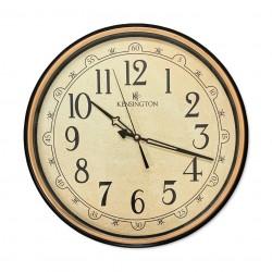 Reloj en tonos ocre con borde bicolor