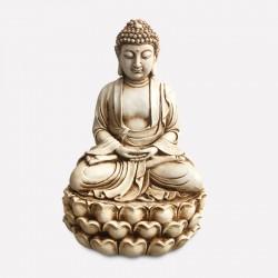 Buda meditando color blanco invierno