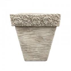 Maceta cuadrada diseño de rosas