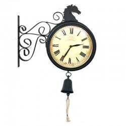 Reloj metálico caballo con campana doble cara