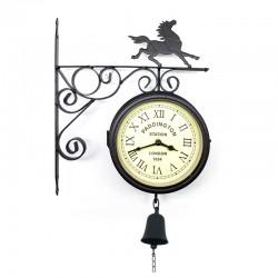 Reloj metálico caballo con camapana doble cara II