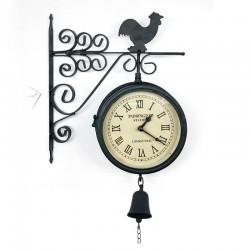 Reloj metálico de gallo doble cara con campana