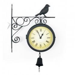 Reloj metálico de ave doble coara con campana