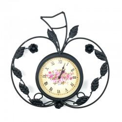 Reloj metálico diseño manzana floral