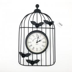 Reloj metálico diseño jaula con flores