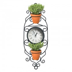 Reloj metálico vertical con doble porta maceta