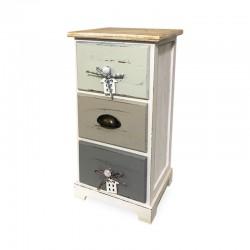 Cabinet de 3 cajones en tonos verdes pasteles