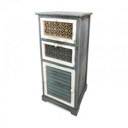 Cabinet verdoso con cajones de colores tallados