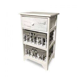 Cabinet blanco patinado con 2 cestas de lunares