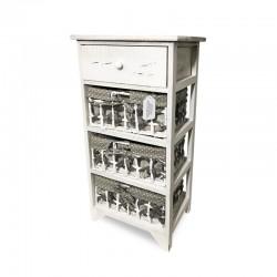 Cabinet blanco patinado con 3 cestas de lunares