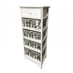 Cabinet blanco patinado con 4 cestas de lunares