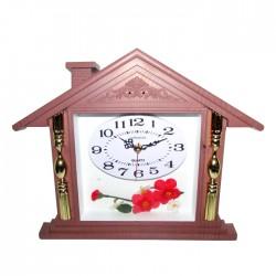 Reloj plástico rosa diseño casita