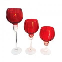 Set de 3 copas rojas