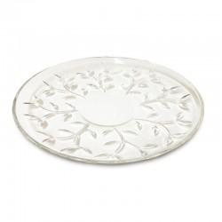 Fuente tallada con diseños de hojas