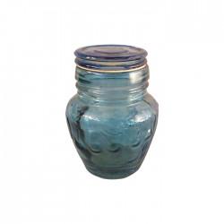 Frasco azul pequeño con tapa